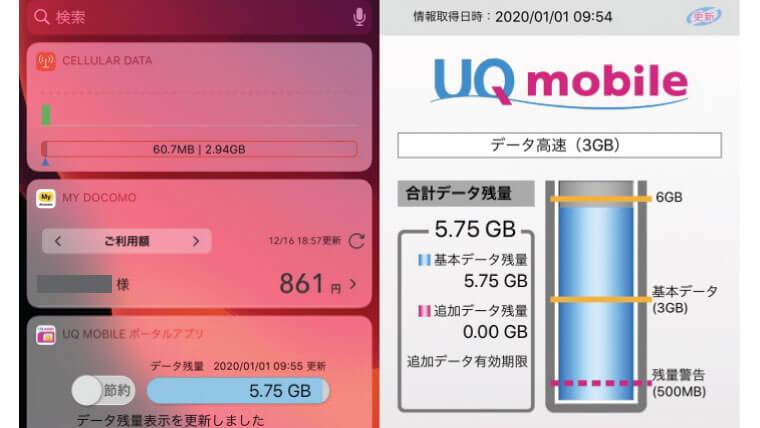 UQモバイル高速通信をあまり使わなくて繰り越された状態