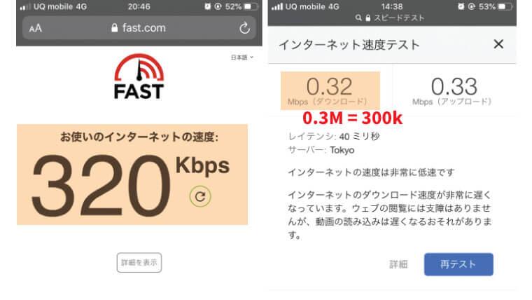 UQモバイル低速モードの実速度