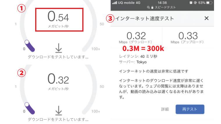 UQモバイルの低速モードはバースト機能あり